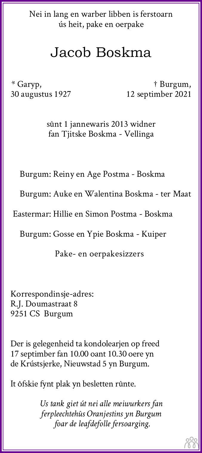 Overlijdensbericht van Jacob Boskma in Leeuwarder Courant