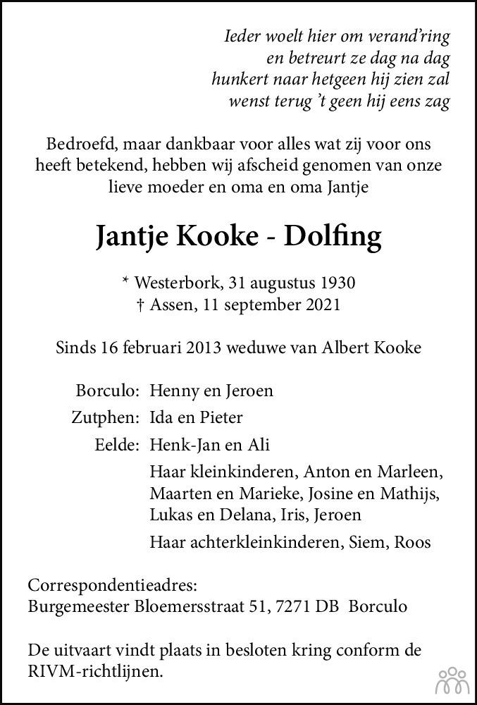 Overlijdensbericht van Jantje Kooke-Dolfing in Dagblad van het Noorden