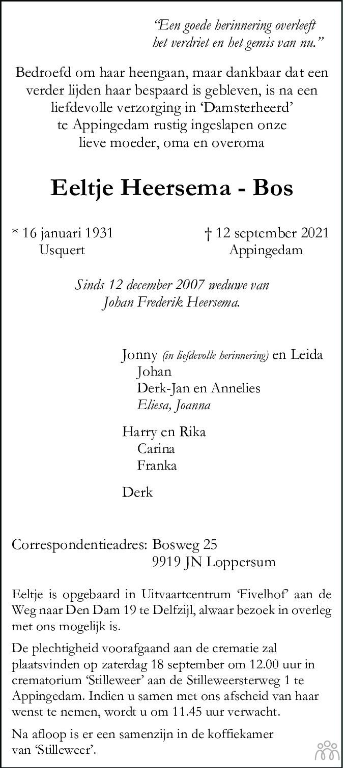Overlijdensbericht van Eeltje Heersema-Bos in Dagblad van het Noorden