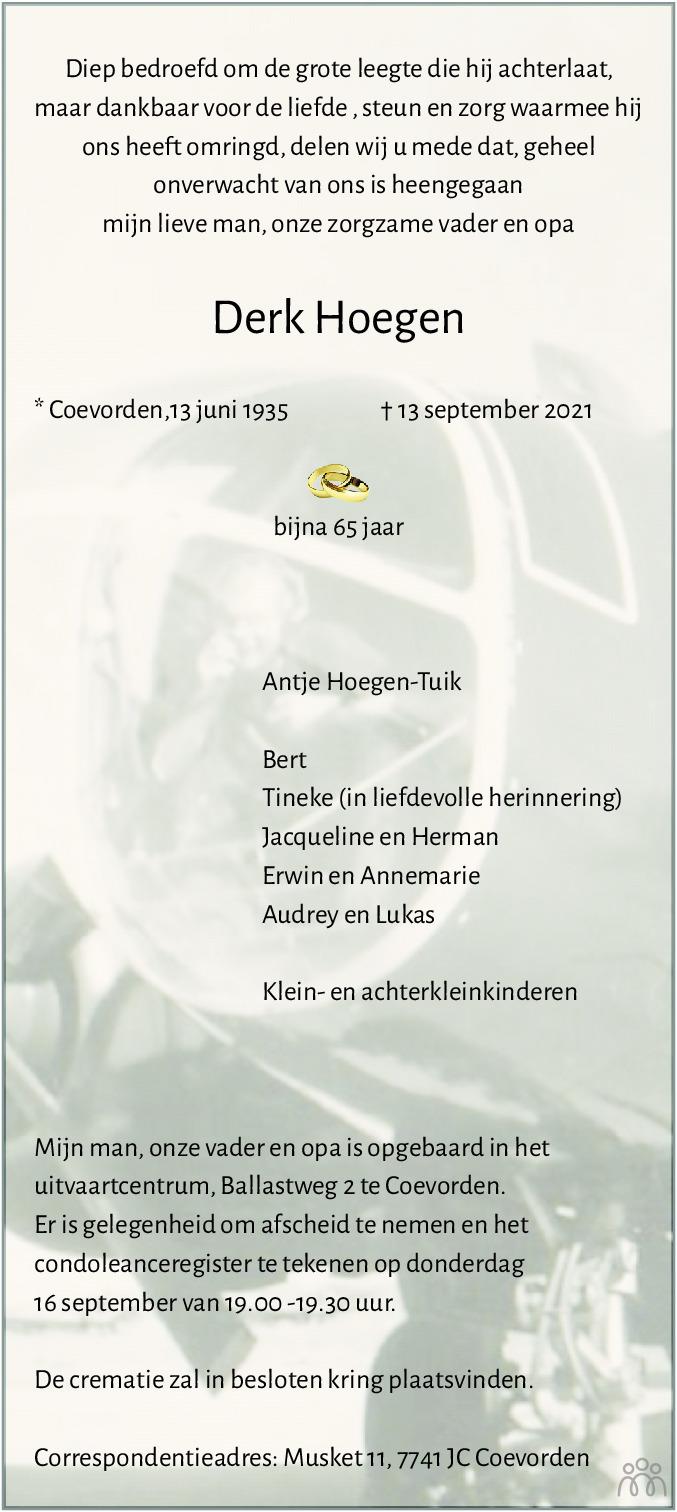 Overlijdensbericht van Derk Hoegen in Dagblad van het Noorden