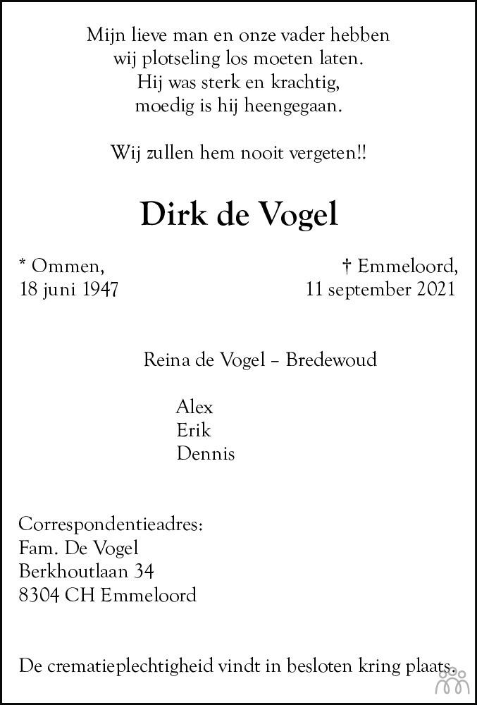 Overlijdensbericht van Dirk de Vogel in Noordoostpolder