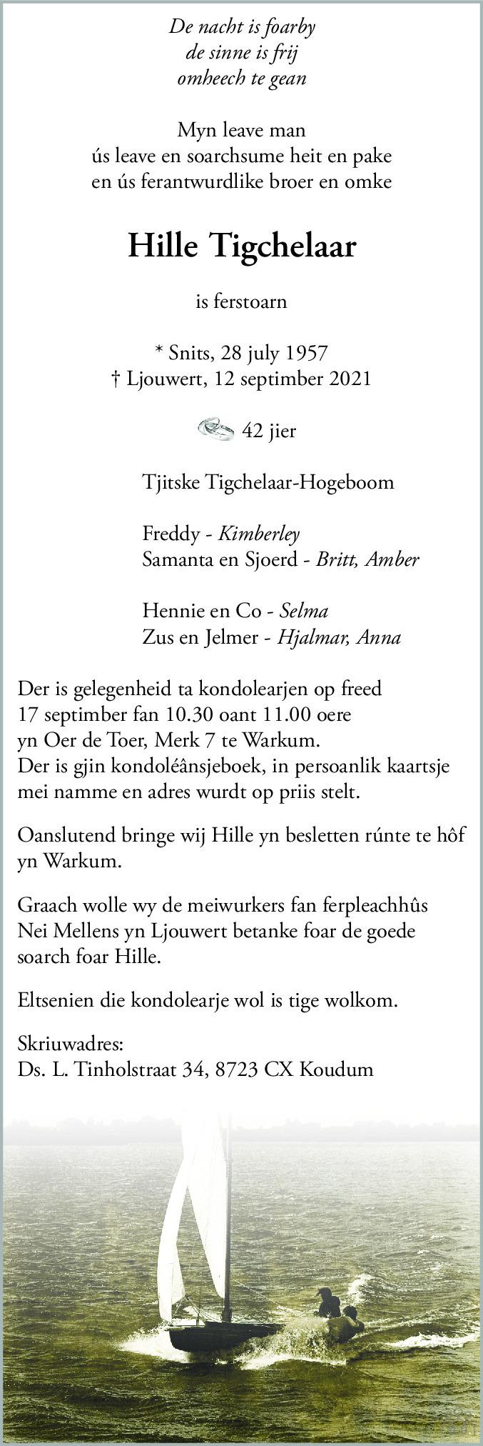 Overlijdensbericht van Hille Tigchelaar in Leeuwarder Courant