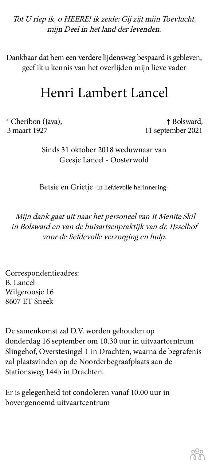 Overlijdensbericht van Henri Lambert Lancel in Leeuwarder Courant