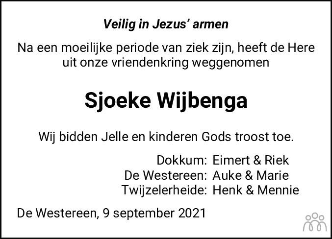 Overlijdensbericht van Sjoerdtje (Sjoeke) Wijbenga-Wijma in Dockumer Courant