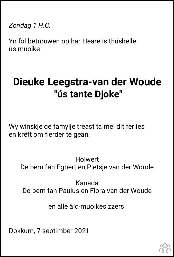Overlijdensbericht van Dieuke Leegstra-van der Woude in Dockumer Courant