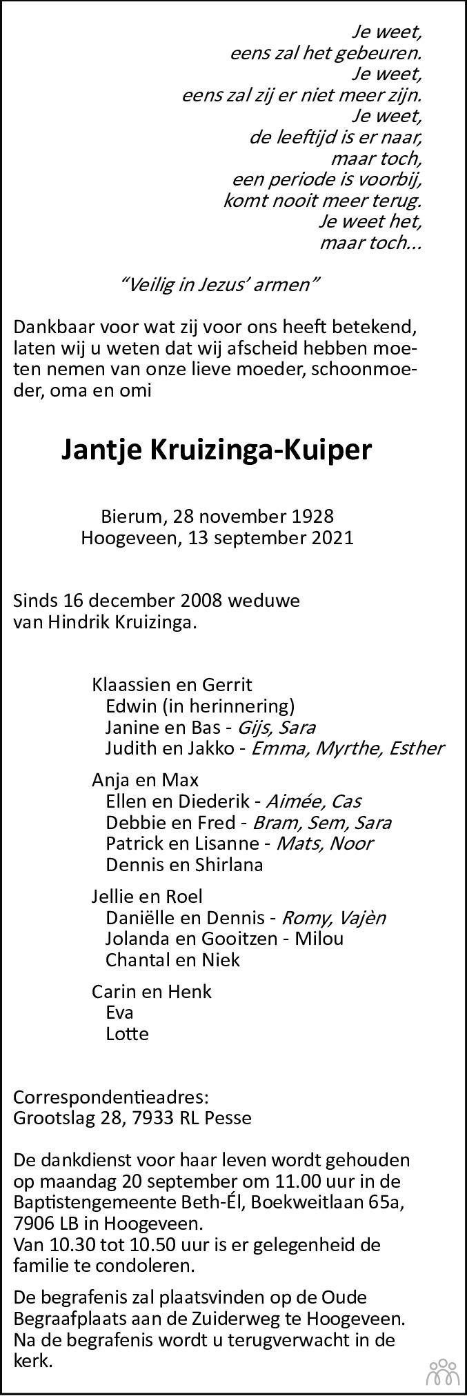 Overlijdensbericht van Jantje Kruizinga-Kuiper in Hoogeveensche Courant