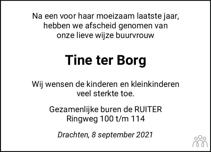Overlijdensbericht van Jeltina (Tine) ter Borg-de Bree in Drachtster Courant