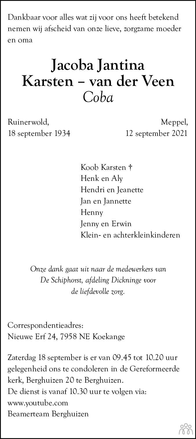 Overlijdensbericht van Jacoba Jantina (Coba) Karsten-van der Veen in Hoogeveensche Courant
