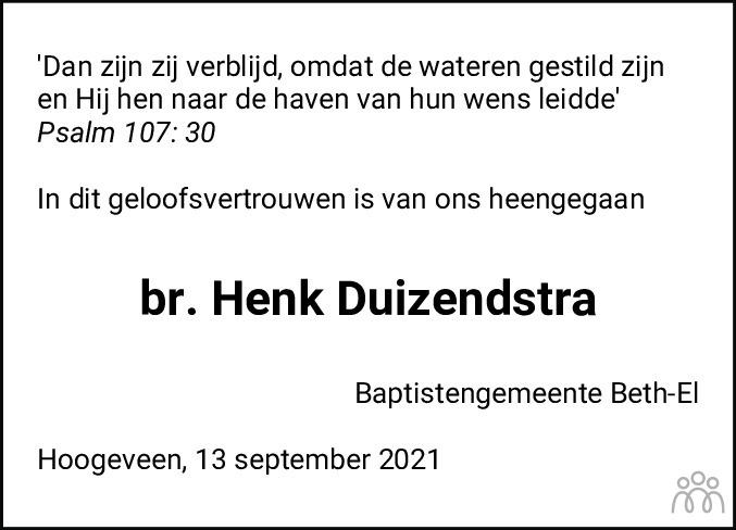 Overlijdensbericht van Jan Hendrik Duizendstra in Hoogeveensche Courant