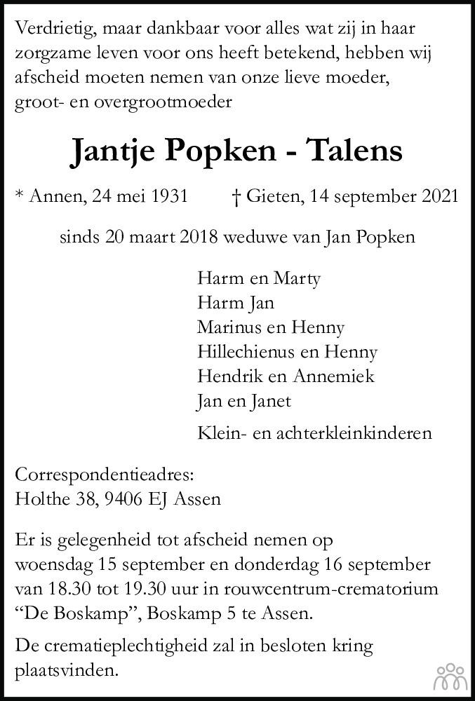 Overlijdensbericht van Jantje Popken-Talens in Dagblad van het Noorden