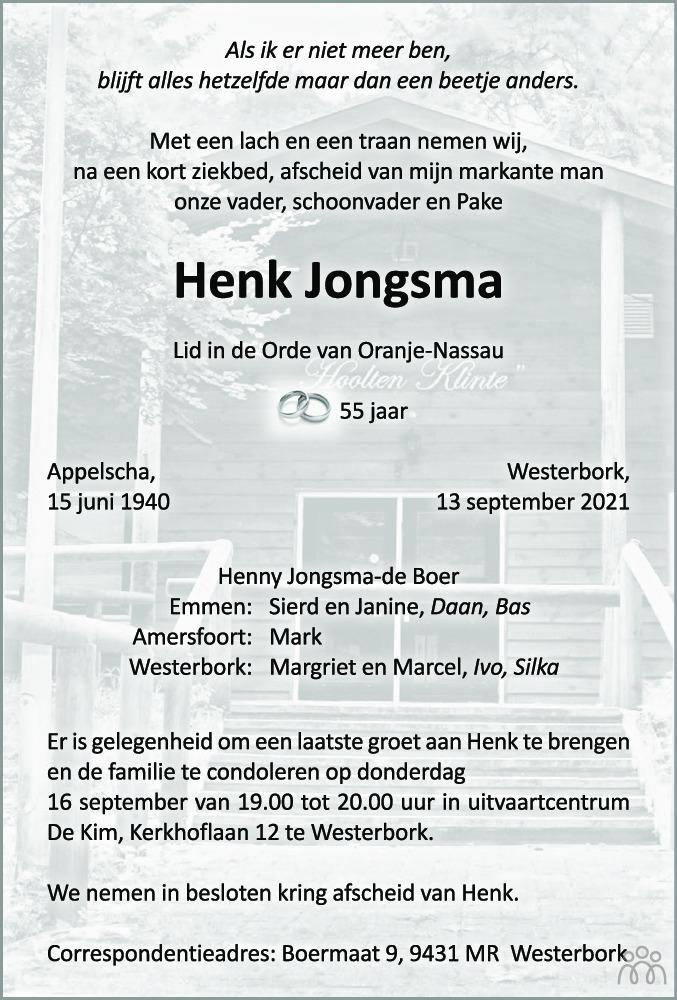 Overlijdensbericht van Henk Jongsma in Dagblad van het Noorden