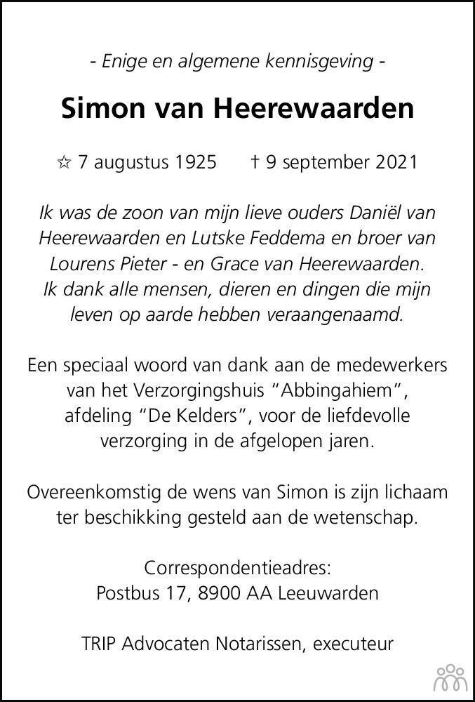 Overlijdensbericht van Simon van Heerewaarden in Leeuwarder Courant
