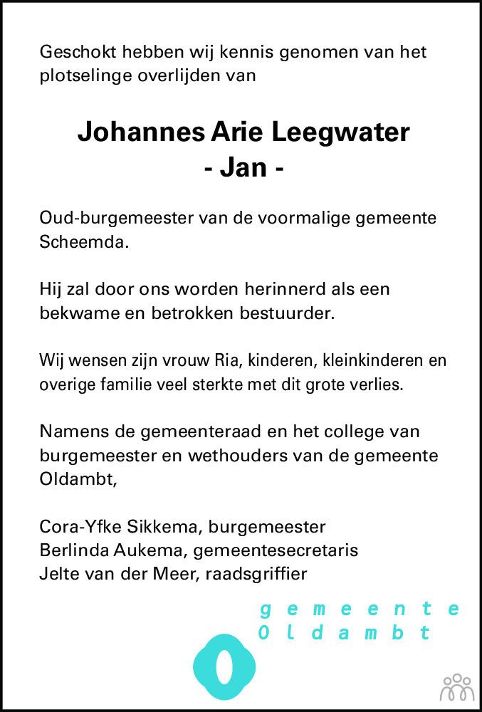 Overlijdensbericht van Johannes Arie (Jan) Leegwater in Dagblad van het Noorden