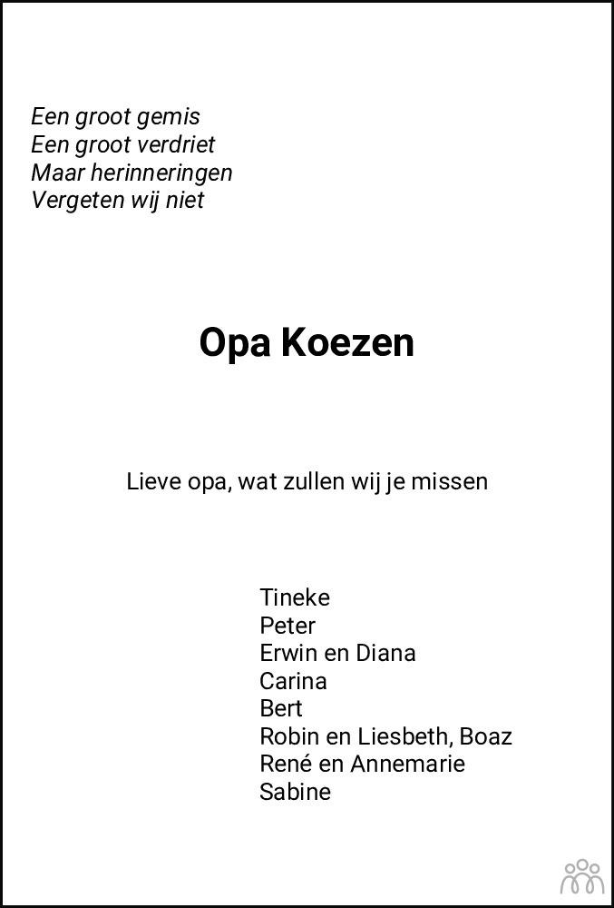 Overlijdensbericht van Lambert (Bertus) Kroezen in Meppeler Courant