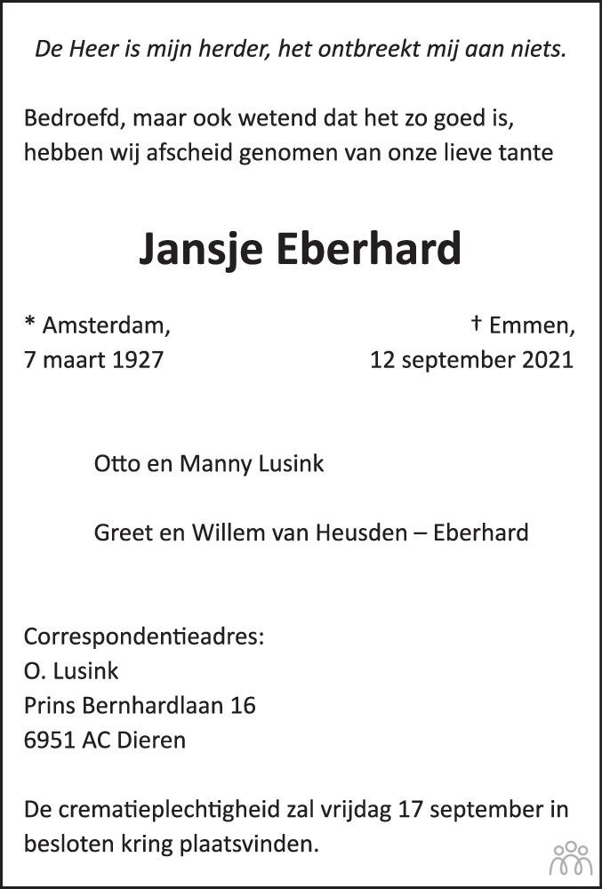 Overlijdensbericht van Jansje Eberhard in Dagblad van het Noorden