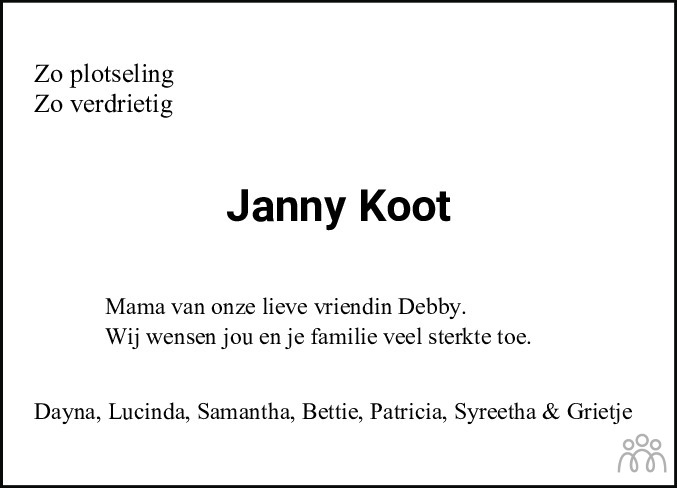 Overlijdensbericht van Johanna Hendrika (Janny) Koot-Bongers in Leeuwarder Courant