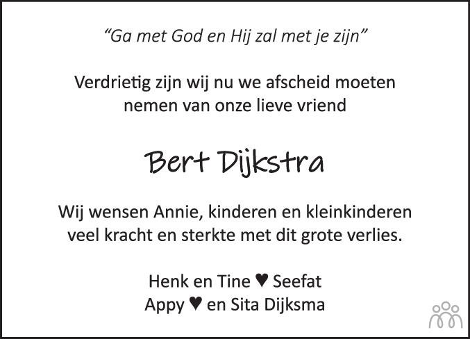 Overlijdensbericht van Egbert (Bert) Dijkstra in De Stellingwerf