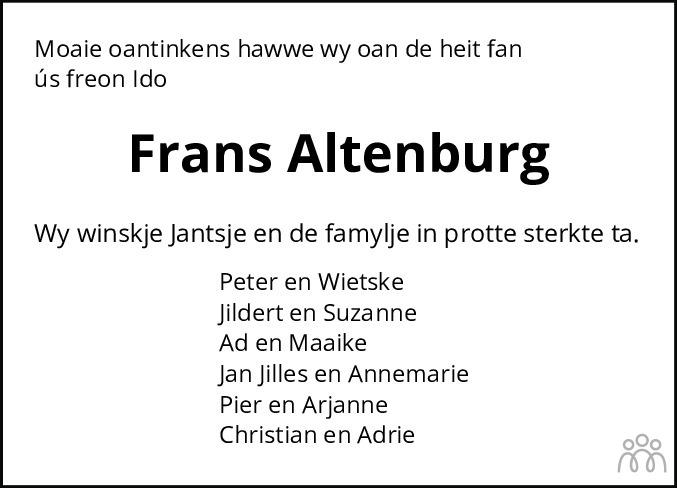 Overlijdensbericht van Frans Altenburg in Leeuwarder Courant