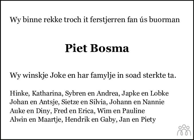 Overlijdensbericht van Piet Bosma in Bolswards Nieuwsblad