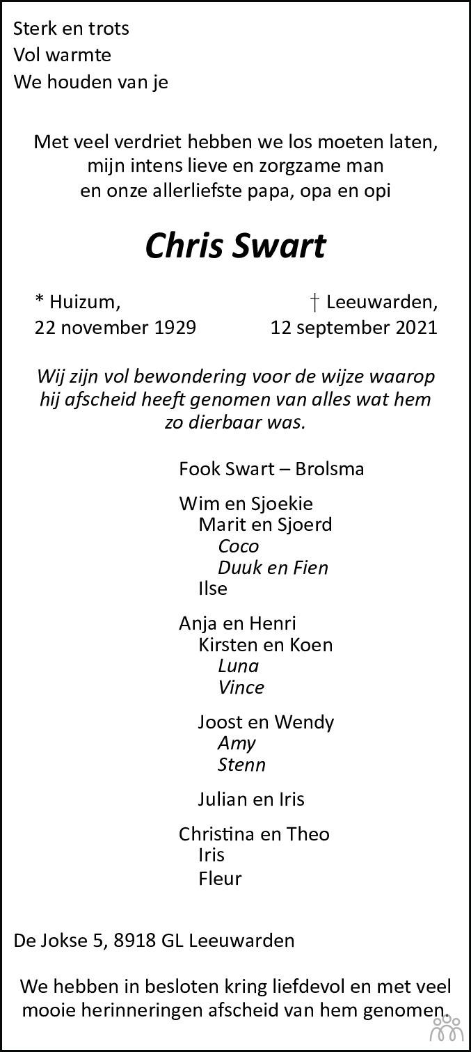 Overlijdensbericht van Chris Swart in Leeuwarder Courant