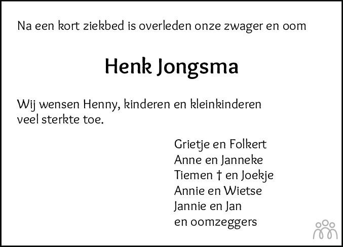 Overlijdensbericht van Henk Jongsma in Nieuwe Ooststellingwerver