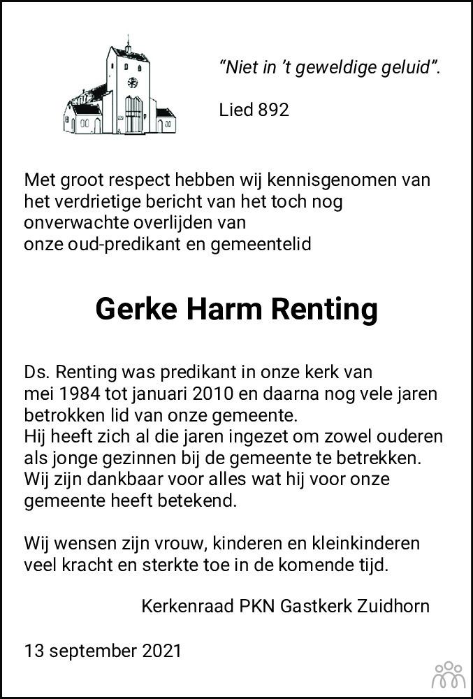 Overlijdensbericht van Gerke Harm Renting in Dagblad van het Noorden