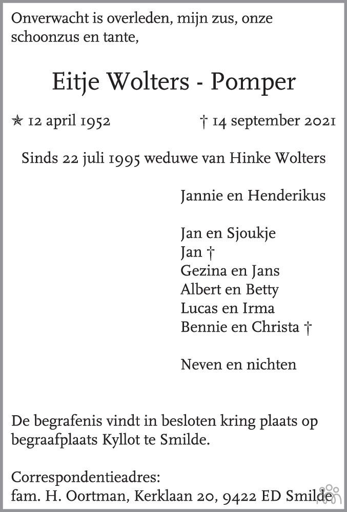 Overlijdensbericht van Eitje Wolters-Pomper in Dagblad van het Noorden
