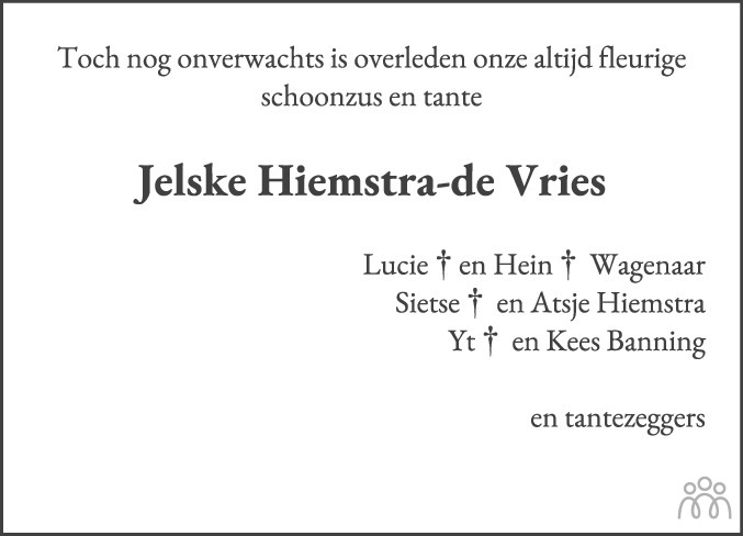 Overlijdensbericht van Jelske Hiemstra-de Vries in Leeuwarder Courant