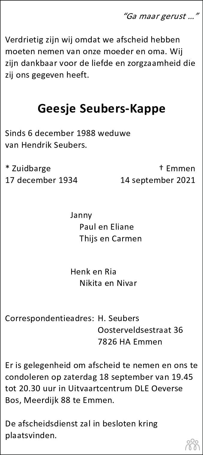 Overlijdensbericht van Geesje Seubers-Kappe in Dagblad van het Noorden