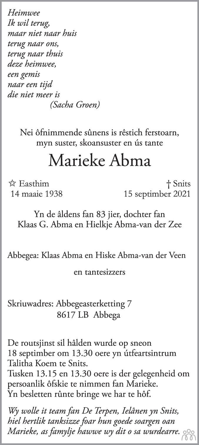 Overlijdensbericht van Marieke Abma in Leeuwarder Courant