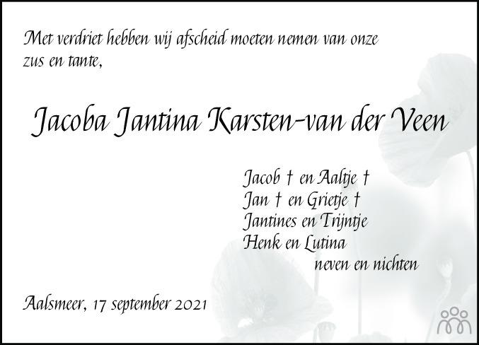 Overlijdensbericht van Jacoba Jantina (Coba) Karsten-van der Veen in Meppeler Courant