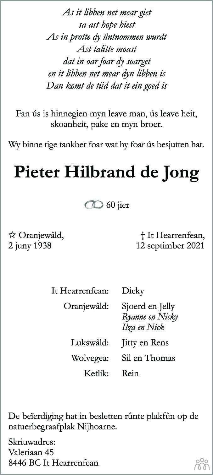 Overlijdensbericht van Pieter Hilbrand de Jong in Leeuwarder Courant
