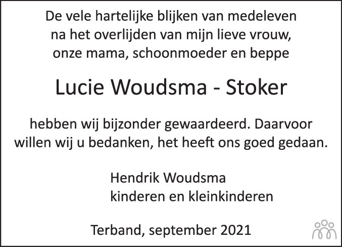 Overlijdensbericht van Luitje Sibbeltje (Lucie) Woudsma-Stoker in Leeuwarder Courant