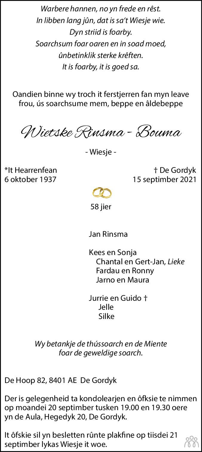 Overlijdensbericht van Wietske (Wiesje) Rinsma-Bouma in Leeuwarder Courant