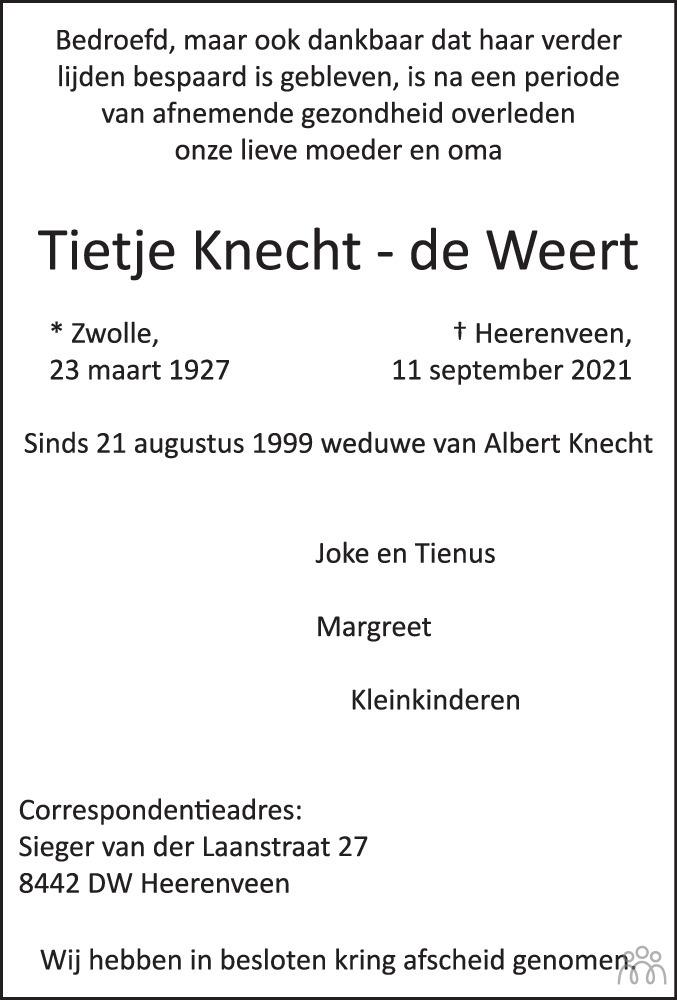 Overlijdensbericht van Tietje Knecht-de Weert in Leeuwarder Courant