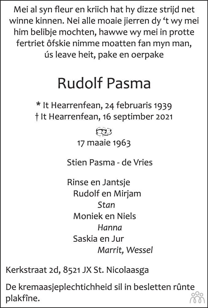 Overlijdensbericht van Rudolf Pasma in Leeuwarder Courant