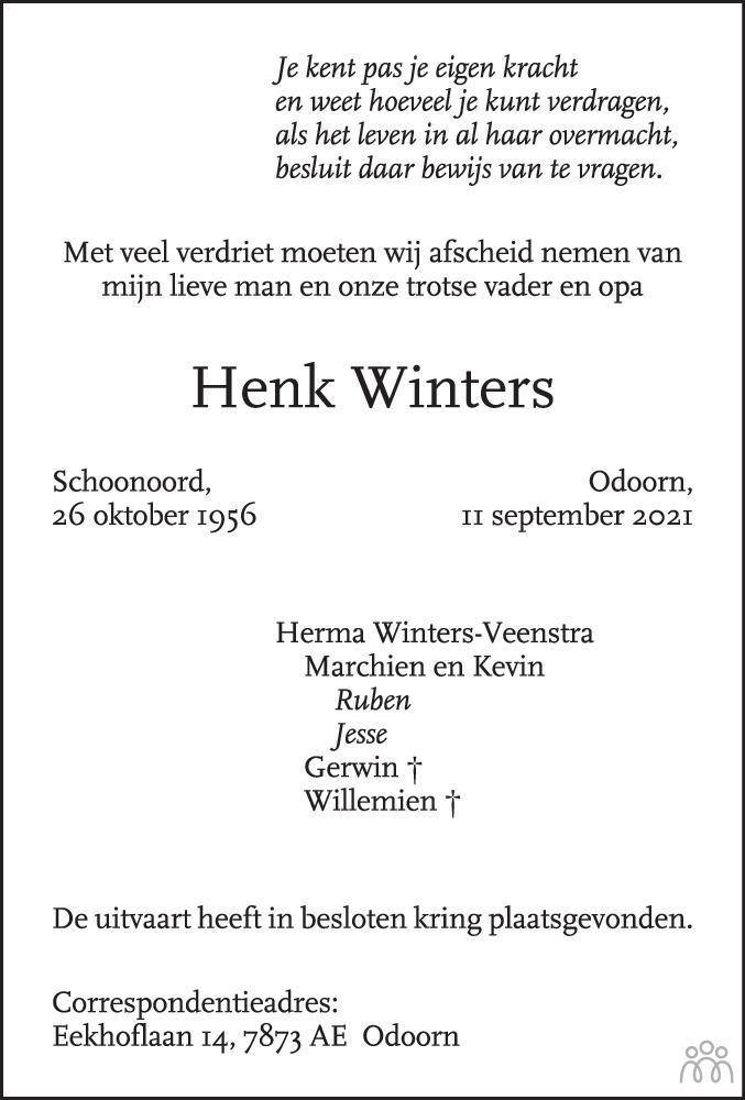 Overlijdensbericht van Henk Winters in Emmen Nu