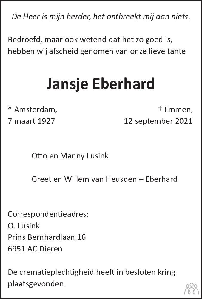 Overlijdensbericht van Jansje Eberhard in Emmen Nu