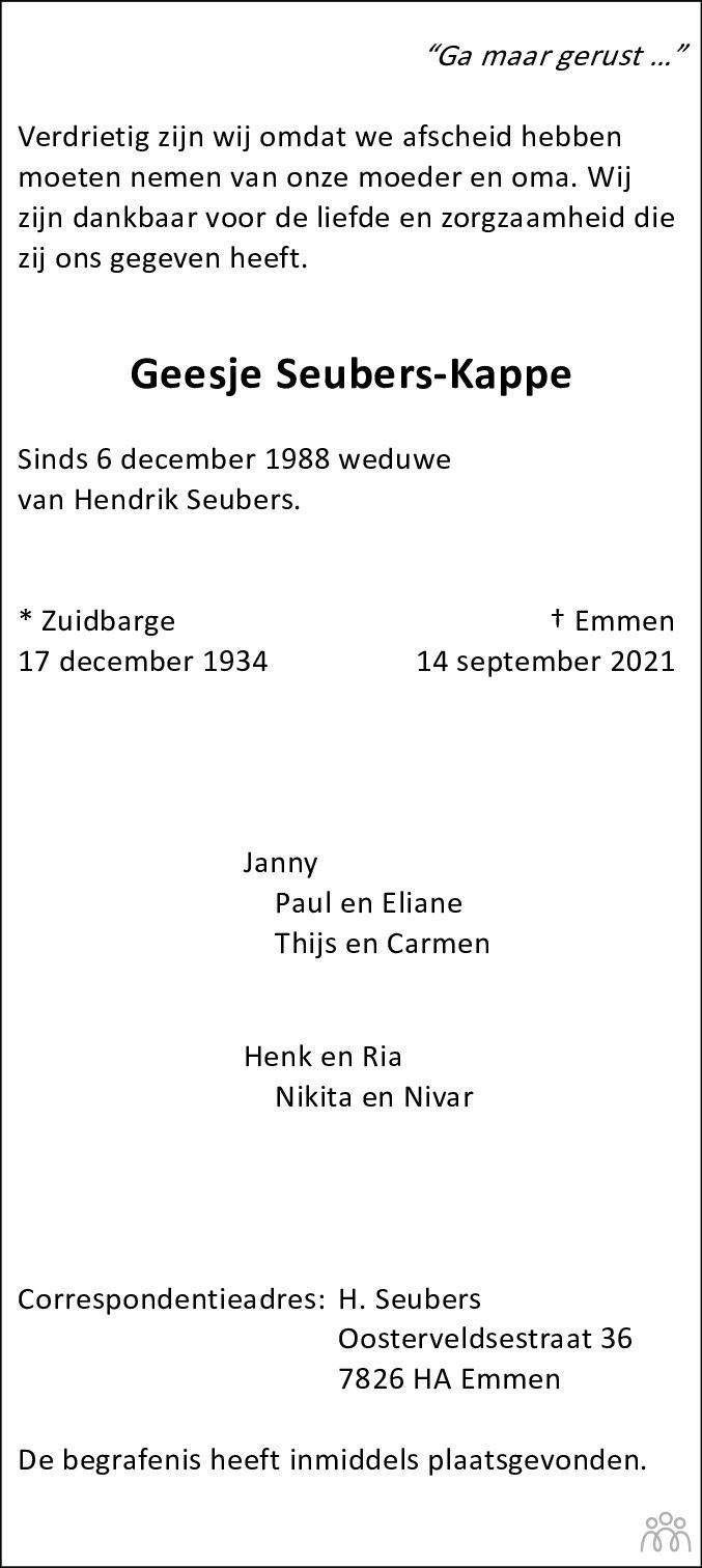 Overlijdensbericht van Geesje Seubers-Kappe in Emmen Nu
