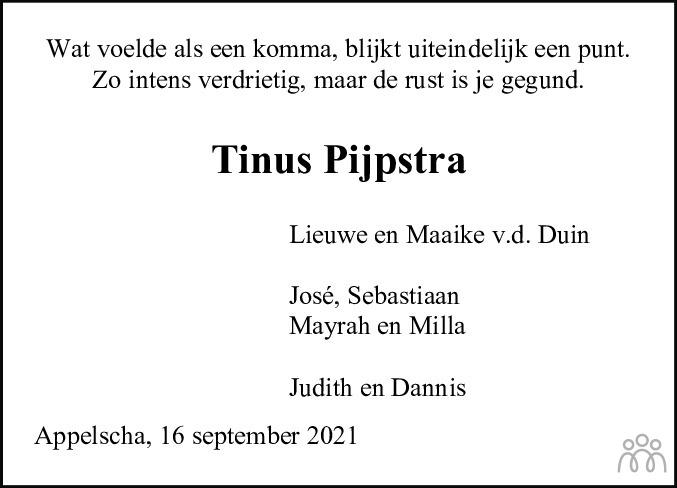 Overlijdensbericht van Antinus Marten (Tinus) Pijpstra in Nieuwe Ooststellingwerver