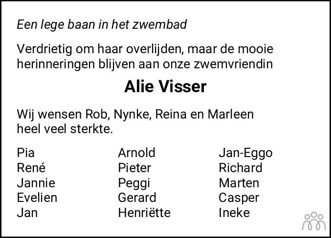 Overlijdensbericht van Alie Visser in Leeuwarder Courant