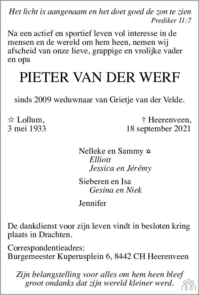 Overlijdensbericht van Pieter van der Werf in Friesch Dagblad