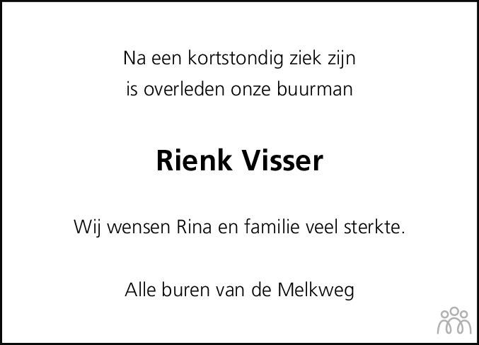 Overlijdensbericht van Rienk Visser in Flevopost Dronten