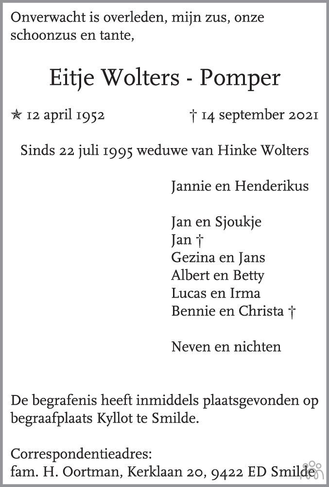 Overlijdensbericht van Eitje Wolters-Pomper in De krant van Midden-Drenthe