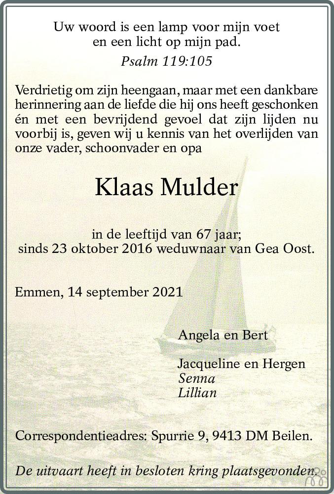 Overlijdensbericht van Klaas Mulder in Dagblad van het Noorden