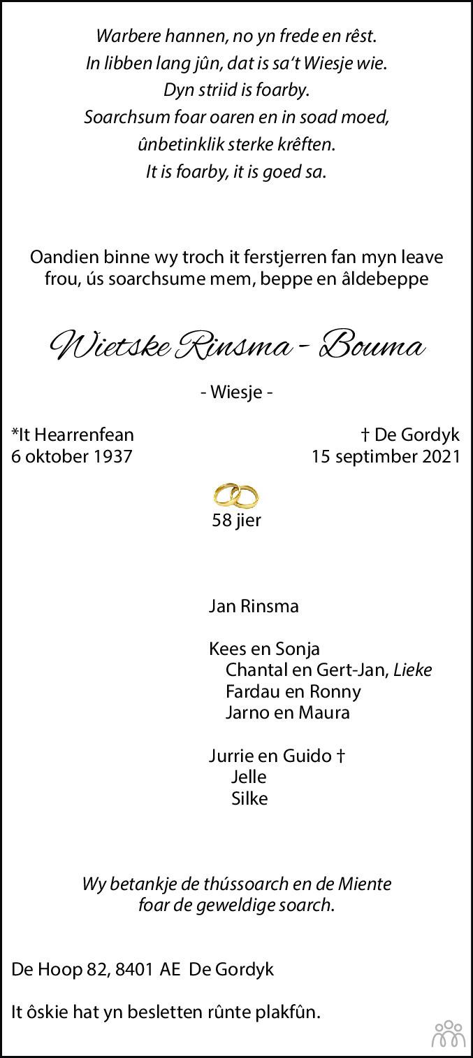 Overlijdensbericht van Wietske (Wiesje) Rinsma-Bouma in Drachtster Courant