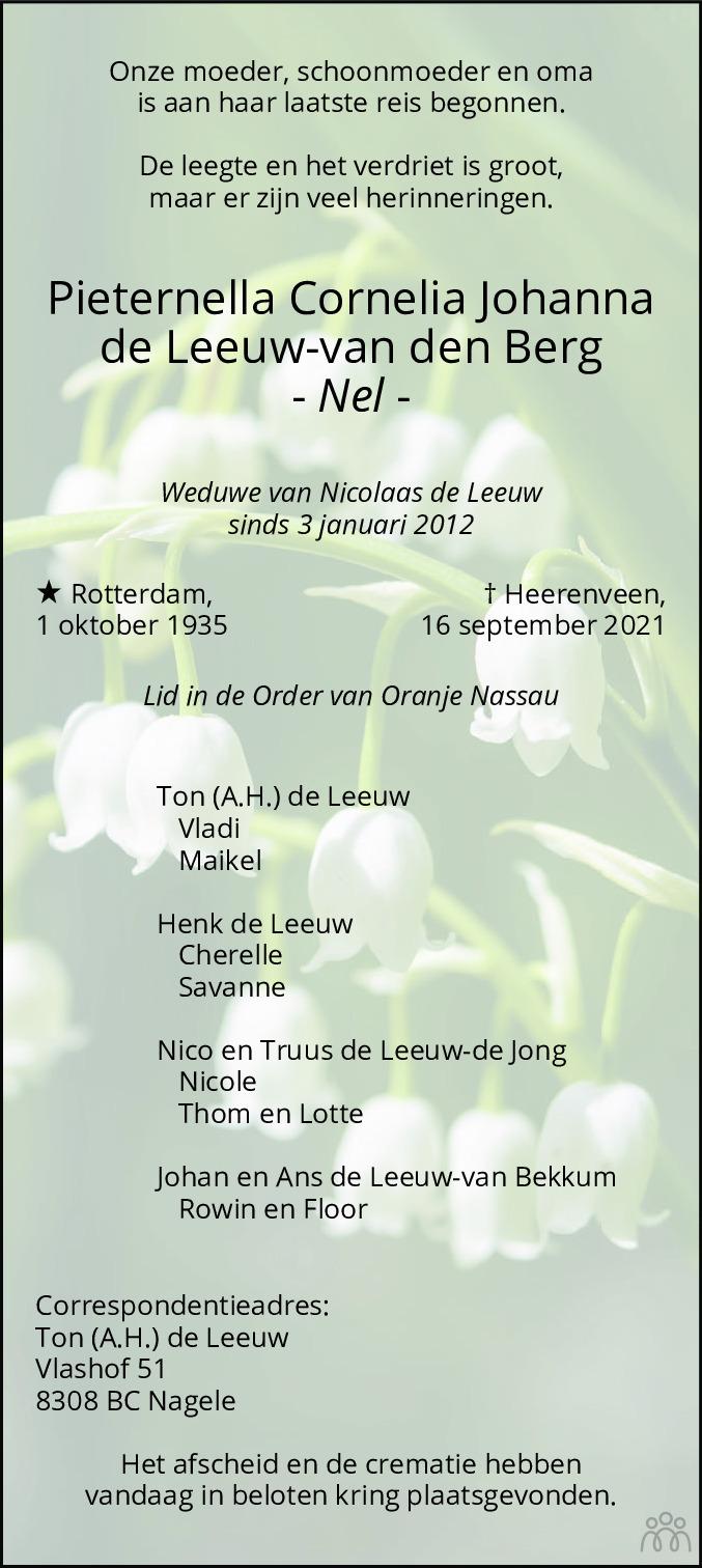 Overlijdensbericht van Pieternella Cornelia Johanna (Nel) de Leeuw-van den Berg in Flevopost Dronten