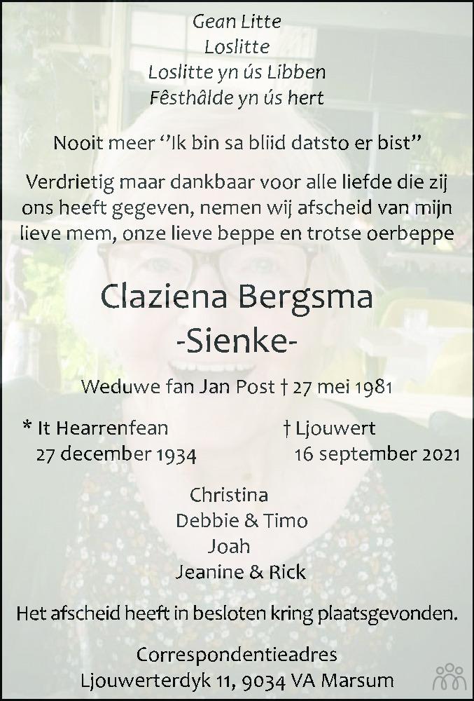 Overlijdensbericht van Claziena (Sienke) Bergsma in Leeuwarder Courant