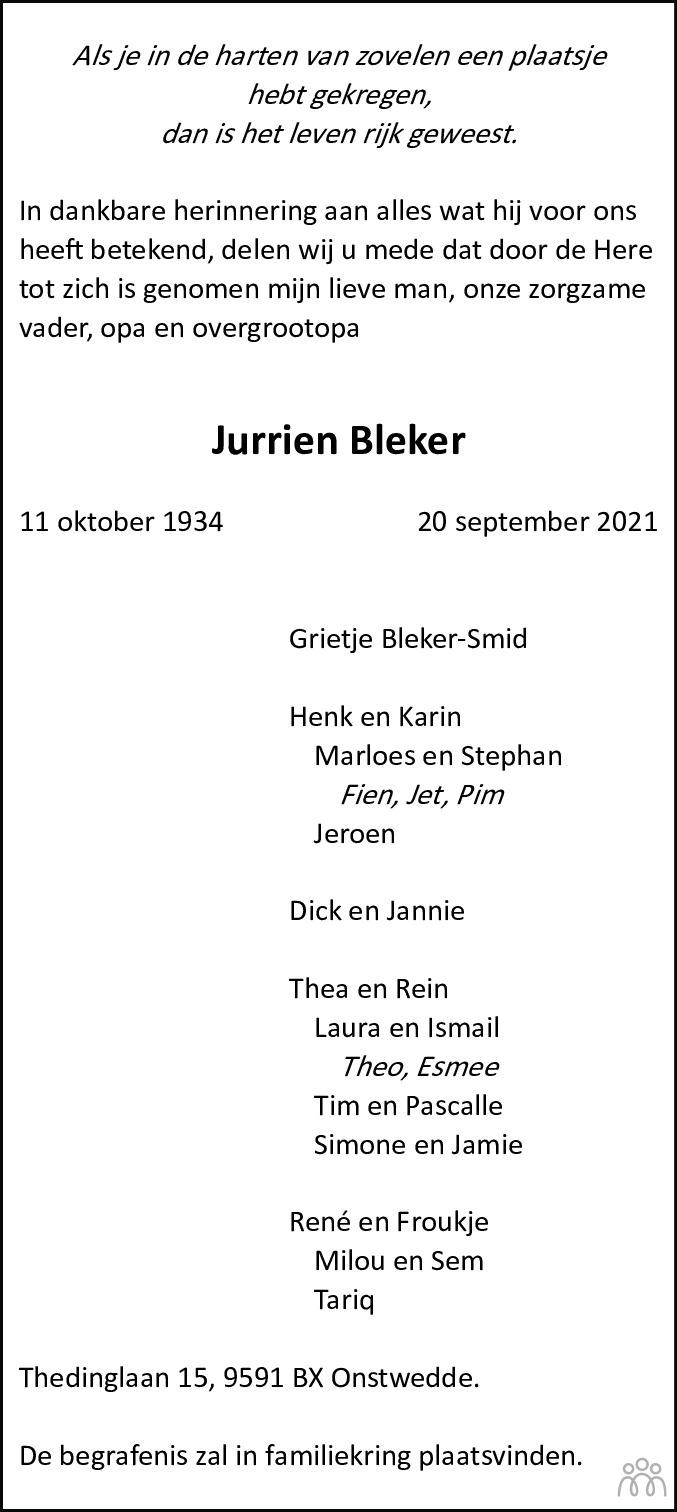 Overlijdensbericht van Jurrien Bleker in Dagblad van het Noorden