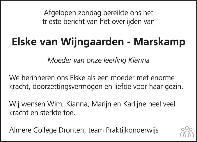 Overlijdensbericht van Elske van Wijngaarden-Marskamp in Flevopost Dronten